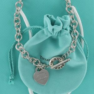 """Tiffany Heart Tag Toggle Chain Link 16"""" Necklace"""
